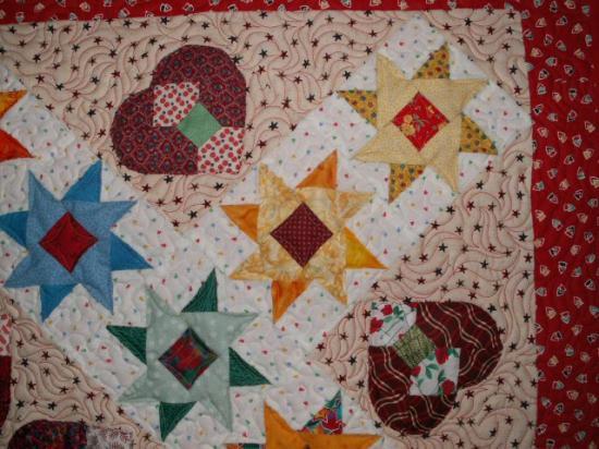 Coeur dans les etoiles ljacqueline fischer art textile det red