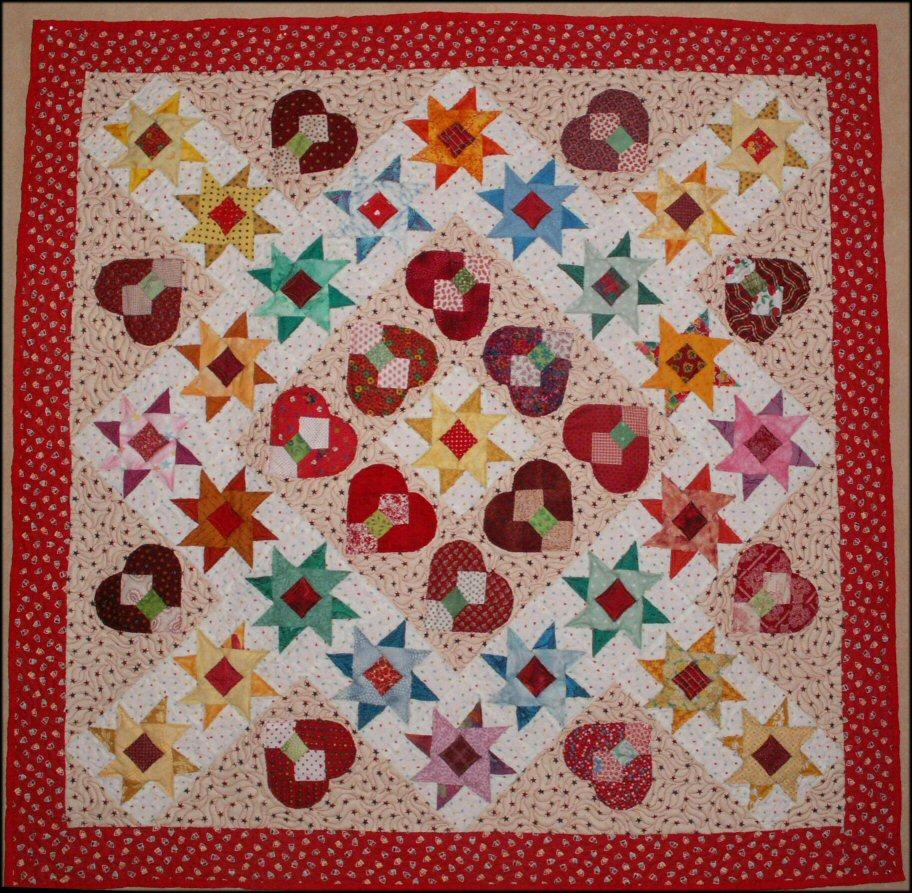 Coeur dans les etoiles red jacqueline fischer art textile
